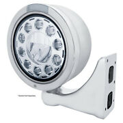 Stainless Steel 7 Led Bullet Half-moon Headlight W/ Clear Lens/dual Function