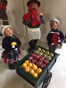 Byers Choice Carolers Cries Of London Fruit Vendor Lot W/ 2 Children, Cart, Tag