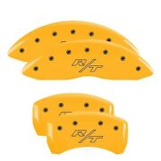 Mgp 4 Caliper Covers Engraved Front And Rear Vintage Style/rt Yellow Finish Black