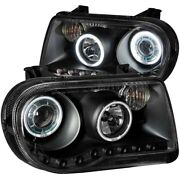Anzo For 2005-2010 Chrysler 300c Projector Headlights W/ Halo Black Ccfl G2 -