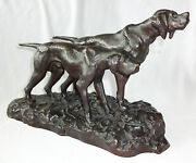 1930s Japanese Bronze Sculpture Pair Of Hunting Dogs Sign Hideaki Ree
