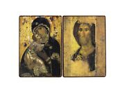 Orthodox Russian Diptych Icon Mary, Mother Of Jesus And Jesus Christ Handmade