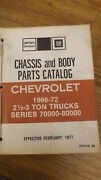 1966-1972 Series 70000 80000 Chevrolet Truck Chassis And Body Parts Catalog Gm