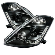 Spyder For 350z 03-05 Projector Headlights Xenon Drl Blk High H1 Lw D2r Pro-y