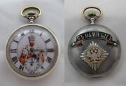 Imperial Russian Officer Military Ww1 Omega Stainless Steel Pocket Watch