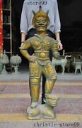 Old Chinese Dynasty Text Bonze Ware Gilt Bird People Person Man Warrior Statue