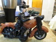 Vintage Cast Iron Police Motorcycle Toy With Iron Tires 7 Long