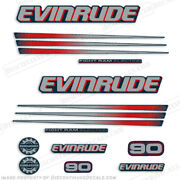 Evinrude 90hp Bombardier Outboard Decal Kit Blue Cowl 2002-2006 Engine Stickers