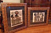 Designer Custom Framed Matted Pair Of Egyptian Papyrus Drawings Of Figures 2