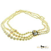 3 Row Graduated Round Natural White Coral Beaded Yellow Gold Necklace Pendant