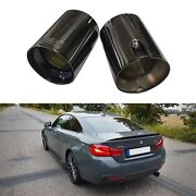 M Style Black Exhaust Cover Tip 2.3 Muffler End Stainless Steel For Bmw Cars