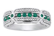 1/5ct Green Round Emerald And White Diamond 10k White Gold Ring Size 6 To 8