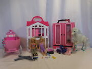 Barbie Glam Getaway House Fold Up + Horse + Carriage + + Closet + Dolls + Access