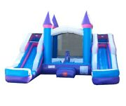 Pogo Pink-blue Inflatable Bounce House Double Lane Water Slide Pool With Blower