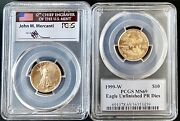 1999-w 10 Gold Eagle Unfinished Proof Die Error Ms69 Mercanti Signed Pop 5