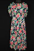 Rare French Wwii Era 1940and039s Vivid Colorful Rayon Crepe Floral Print Dress Size 6