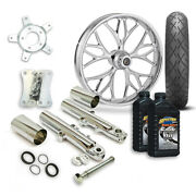 Rc 21 Kore Wheel Tire And Complete Chrome Front End Package Harley 14-19 Flh