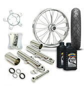 Rc 21 Cynical Wheel Tire And Complete Chrome Front End Package Harley 14-19 Flh
