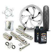 Rc 21 Drifter Wheel Tire And Complete Chrome Front End Package Harley 14-19 Flh