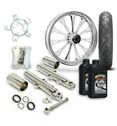 Rc 21 Imperial Wheel Tire And Complete Chrome Front End Package Harley 14-19 Flh