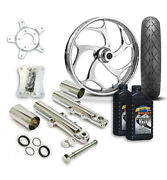 Rc 21 Torsion Wheel Tire And Complete Chrome Front End Package Harley 14-19 Flh