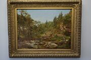 William Percy 1820-1903 Large English Oil Trout Pond In Yorkshire Orig. Frame