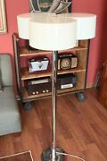 Vintage Unique Mcm Retro Floor Lamp Chrome Pole And Base With 3 Circular Shades
