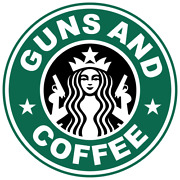 Guns And Coffee Funny Vinyl Sticker Car Truck Decal Starbucks Pistol Hand Gun