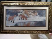 Foxes In The Snow. Cross Stitch Sampler Needle Point Folk Art Needlepoint