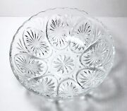 Vintage Anchor Hocking Star And Cameo Clear Glass Bowl With Medallions