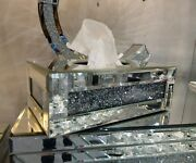 Tuscany Mirrored Glass Medium Tissue Box Holder Cover With Crystals