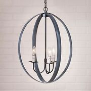 Primitive Country Farmhouse Colonial 20 Inch Oval Sphere Strap Chandelier Black
