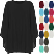 Plus Womens Ladies Chiffon Necklace Top Baggy Oversized Lined Long Sleeve 14-30