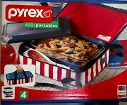 New Pyrex Portables 9 X 13'' Insulated Food Carrier Set Patriotic American Flag