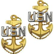 2 Regulation Chief Petty Officer Cpo E7 Collar Lapel Pin Us Navy Seabee Corpsman