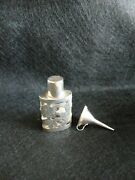 Antique Mexican Sterling Silver Overlay Perfume Bottle With Funnel