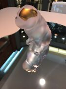 Lalique Crystal Bulldog Sculpture 4 Clear Gold Stamped Puppy Dog New In Box