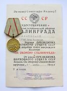 Original Ussr Soviet Russian Doc Medal For Defense Of Stalingrad Wwii Cccp See