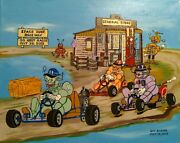 Stretched 16x 20 Robot Go Kart Racing Acrylic On Canvas Artist Guy Foster