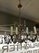 5 Arm 10 Light Brass Chandelier With Crystal Prisms