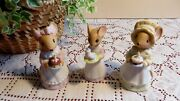 Charming Tails Happy Birthday Cake Bells And Figurines - Lot Of 3 Vintage 1984