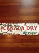 Canada Dry Beverages Soda Porcelain Ceramic Sign 24 X 7 From 1930's