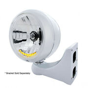 Classic Stainless Steel Guide Headlight W 10 Amber Led 7 Bulb W/o Turn Signal