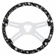 18 Skull Steering Wheel With Hydro-dip Finish Wood And Chrome Spokes - White