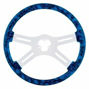 18 Skull Steering Wheel With Hydro-dip Finish Wood And Chrome Spokes - Blue