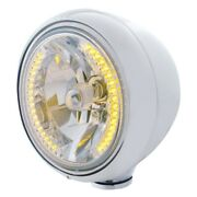 Stainless Guide Headlight H4 Bulb W/ 34 Amber Led