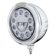 Embossed Stripe Headlight 11 Led Bulb And Led Turn Signal - Amber Led/clear Lens