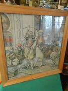 Outstanding Tapestry Heavy Wood Frame Under Glass Arabic Dancers