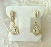 Vintage Jewellery Gold Earrings White Sapphires Ear Rings Antique Deco Jewelry