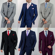 Mens Quality Classic Wedding Formal Party Black Grey Tailored Fit 3 Piece Suit